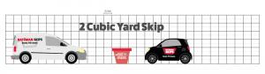 2 yard skip comparison against car and van