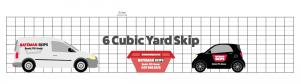 6 yard skip comparison against car and van
